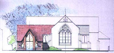 Drawing showing the proposed extension to the Church.